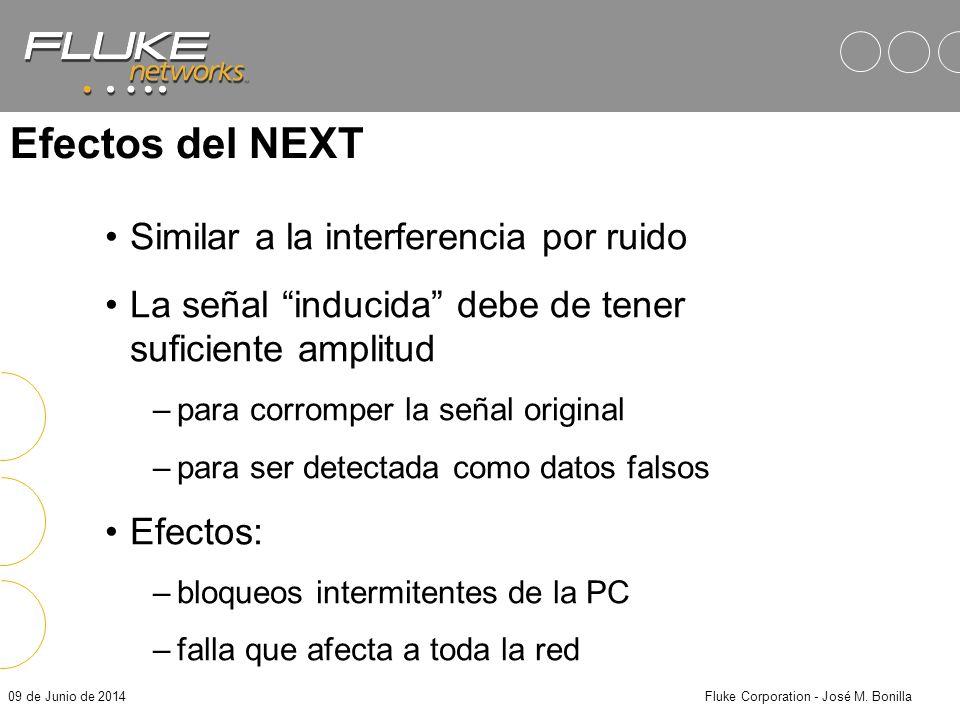 09 de Junio de 2014Fluke Corporation - José M. Bonilla Near End Crosstalk (NEXT) El crosstalk la cantidad de señal de interferencia de un par hacia ot