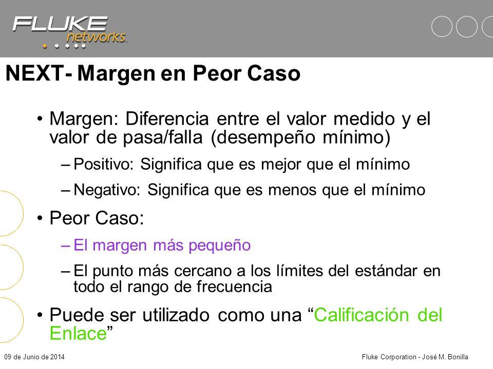 09 de Junio de 2014Fluke Corporation - José M. Bonilla Medición de NEXT El TSB-67 define pasos máximos para el muestreo del desempeño de NEXT: (Todos