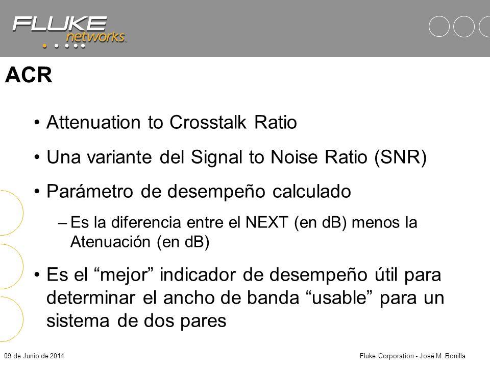 09 de Junio de 2014Fluke Corporation - José M. Bonilla Limites TIA: Atenuación, NEXT, ACR