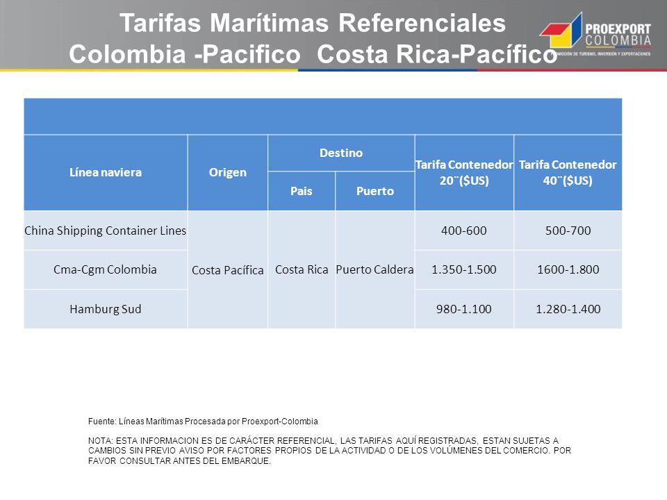 Tarifas Marítimas Referenciales Colombia -Pacifico Costa Rica-Pacífico Línea navieraOrigen Destino Tarifa Contenedor 20¨($US) Tarifa Contenedor 40¨($U
