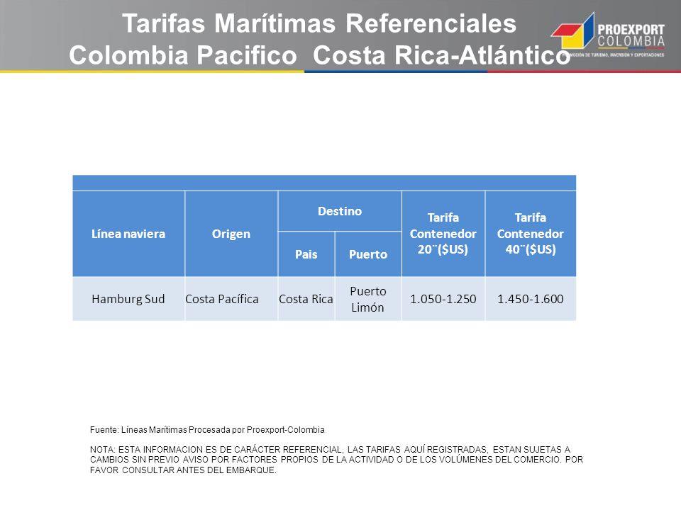 Tarifas Marítimas Referenciales Colombia Pacifico Costa Rica-Atlántico Línea navieraOrigen Destino Tarifa Contenedor 20¨($US) Tarifa Contenedor 40¨($U