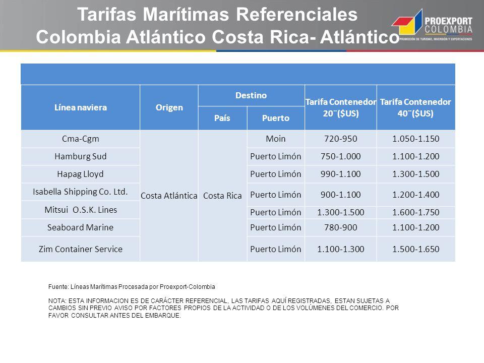 Línea navieraOrigen Destino Tarifa Contenedor 20¨($US) Tarifa Contenedor 40¨($US) PaísPuerto Cma-Cgm Costa AtlánticaCosta Rica Moin720-9501.050-1.150