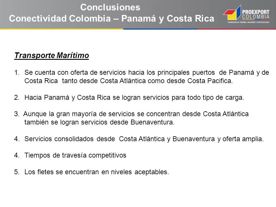 Conclusiones Conectividad Colombia – Panamá y Costa Rica Transporte Marítimo 1.Se cuenta con oferta de servicios hacia los principales puertos de Pana