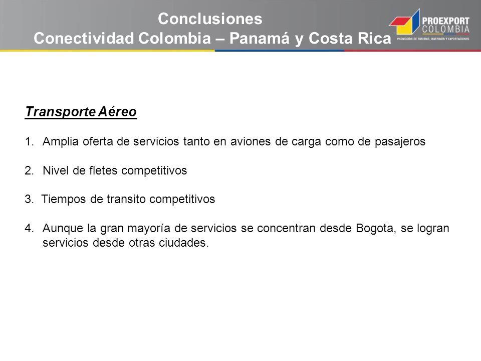 Conclusiones Conectividad Colombia – Panamá y Costa Rica Transporte Aéreo 1.Amplia oferta de servicios tanto en aviones de carga como de pasajeros 2.