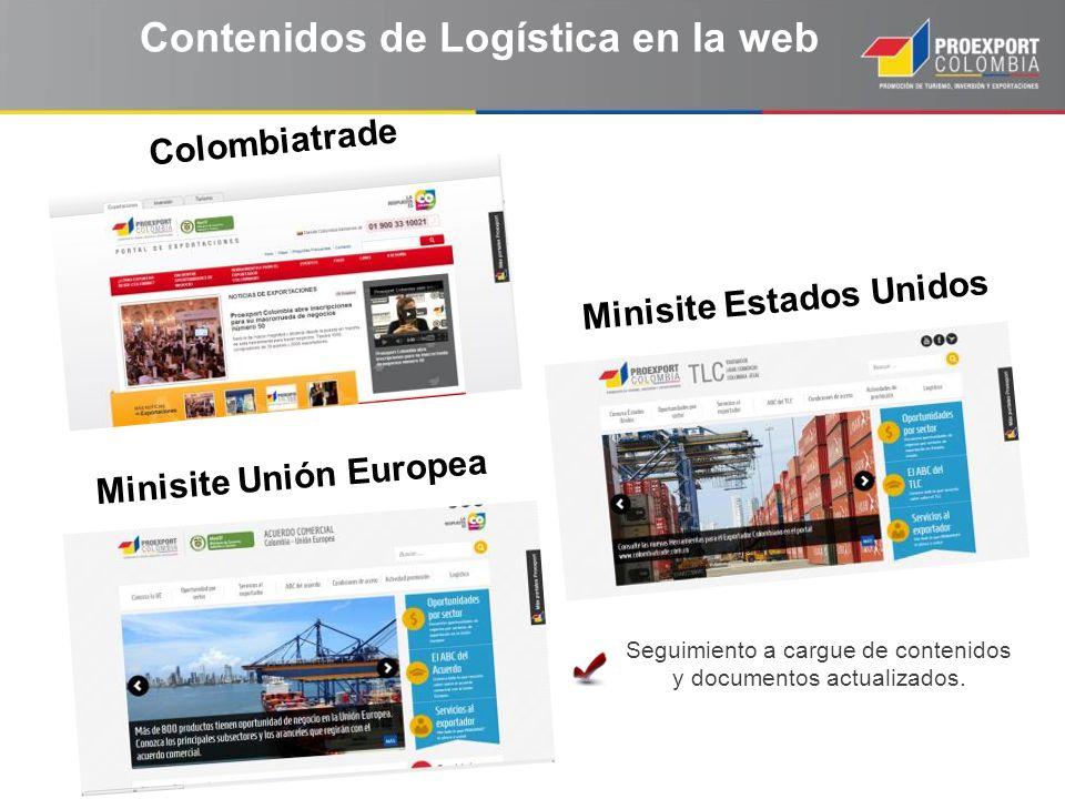 Contenidos de Logística en la web Colombiatrade Minisite Unión Europea Minisite Estados Unidos Seguimiento a cargue de contenidos y documentos actuali