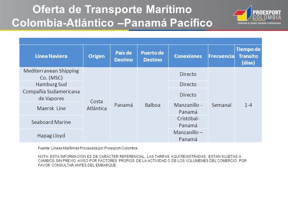 Fuente: Líneas Marítimas Procesada por Proexport-Colombia NOTA: ESTA INFORMACION ES DE CARÁCTER REFERENCIAL, LAS TARIFAS AQUÍ REGISTRADAS, ESTAN SUJET