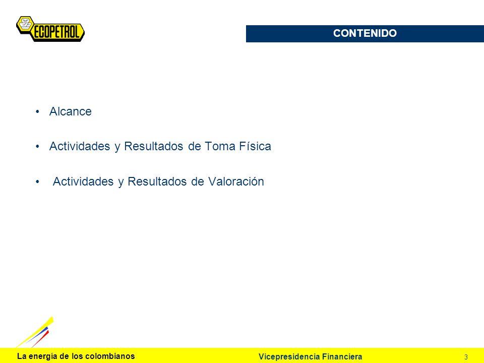 La energía de los colombianos 3 CONTENIDO Alcance Actividades y Resultados de Toma Física Actividades y Resultados de Valoración Vicepresidencia Finan