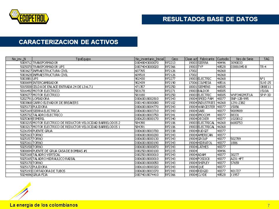 La energía de los colombianos 7 RESULTADOS BASE DE DATOS CARACTERIZACION DE ACTIVOS