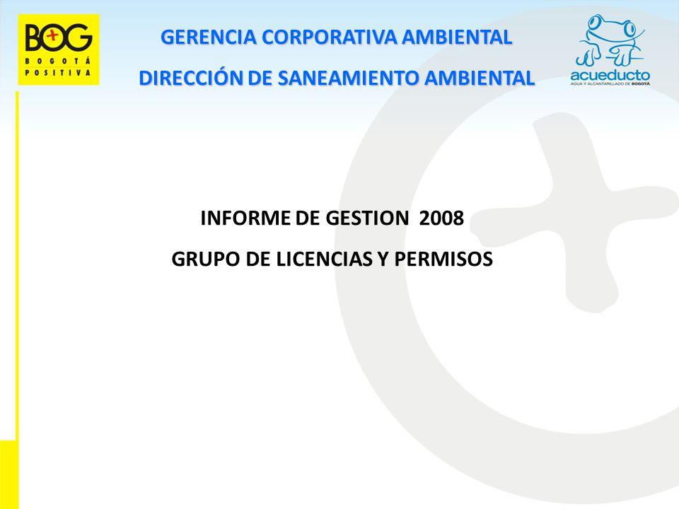 GERENCIA CORPORATIVA AMBIENTAL DIRECCIÓN DE SANEAMIENTO AMBIENTAL INFORME DE GESTION 2008 GRUPO DE LICENCIAS Y PERMISOS