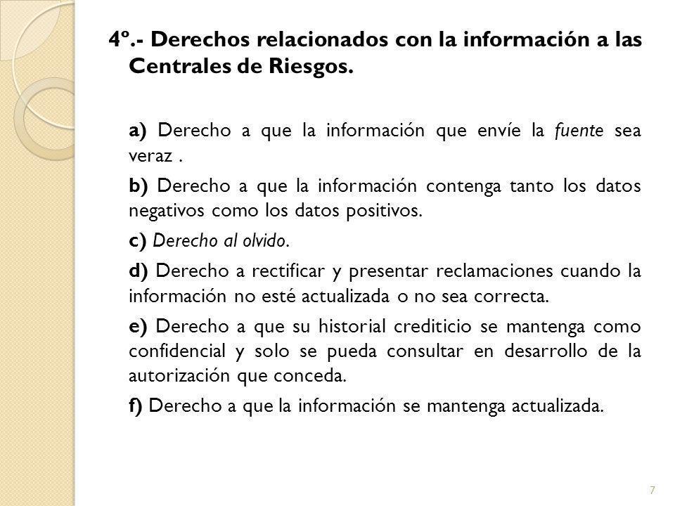 4º.- Derechos relacionados con la información a las Centrales de Riesgos.