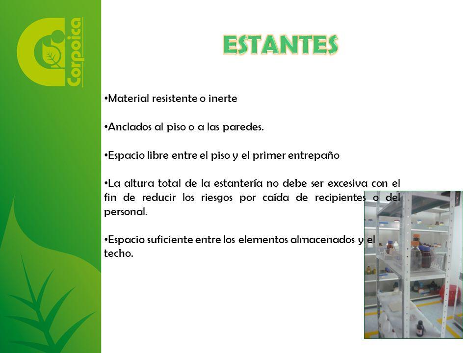 Material resistente o inerte Anclados al piso o a las paredes.