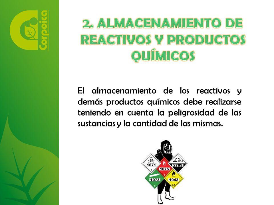 El almacenamiento de los reactivos y demás productos químicos debe realizarse teniendo en cuenta la peligrosidad de las sustancias y la cantidad de las mismas.