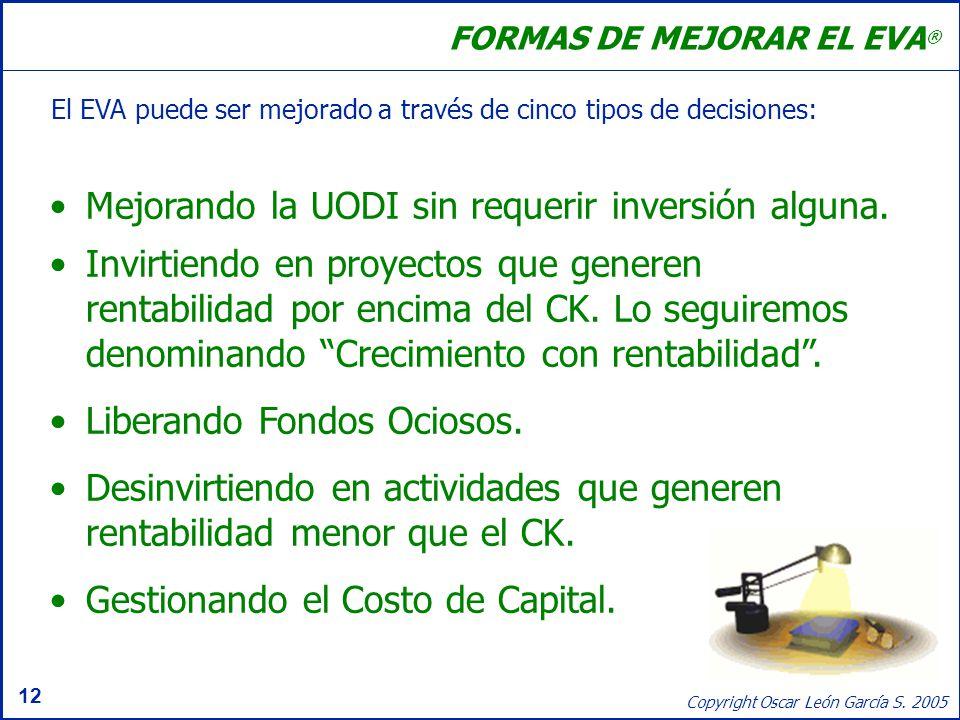 12 Copyright Oscar León García S. 2005 FORMAS DE MEJORAR EL EVA ® El EVA puede ser mejorado a través de cinco tipos de decisiones: Mejorando la UODI s