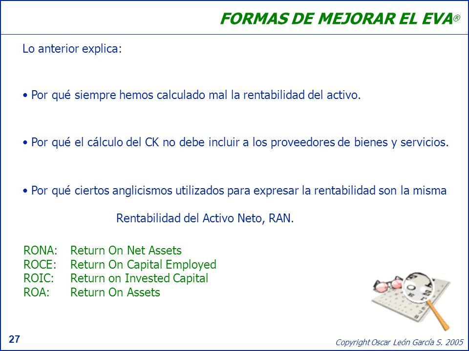 27 Copyright Oscar León García S. 2005 FORMAS DE MEJORAR EL EVA ® Lo anterior explica: Por qué siempre hemos calculado mal la rentabilidad del activo.