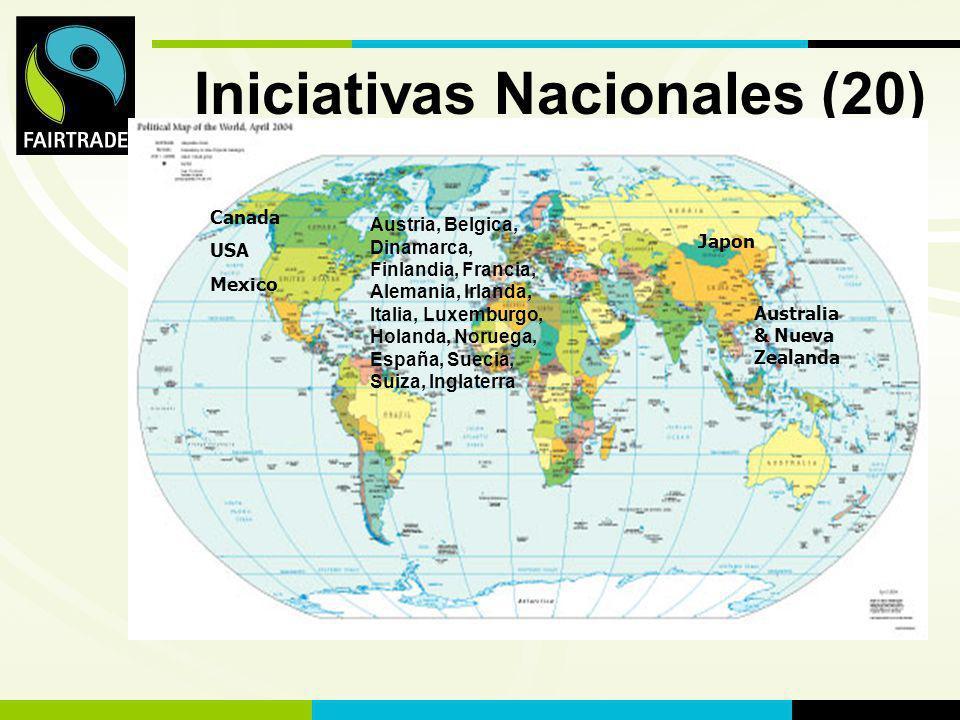 FLO International Iniciativas Nacionales (20) Canada USA Mexico Austria, Belgica, Dinamarca, Finlandia, Francia, Alemania, Irlanda, Italia, Luxemburgo