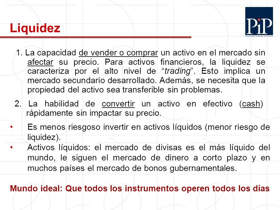 Liquidez Es menos riesgoso invertir en activos líquidos (menor riesgo de liquidez). Activos líquidos: el mercado de divisas es el más líquido del mund