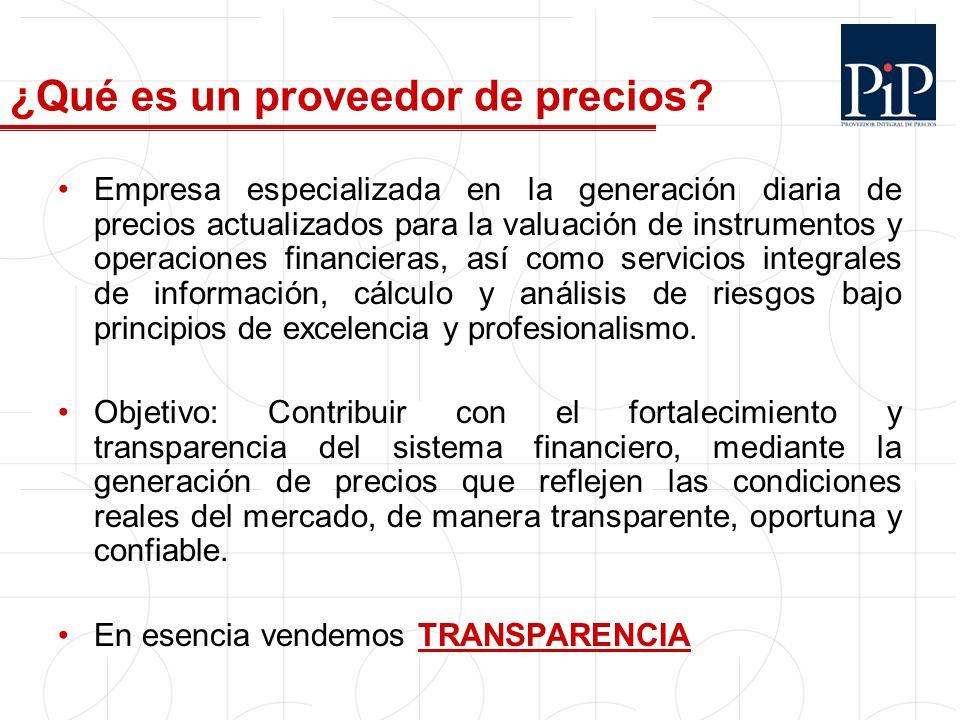 3 Tipos de Proveedores de precios: 1.Entidades independientes y especializadas (PP) 2.
