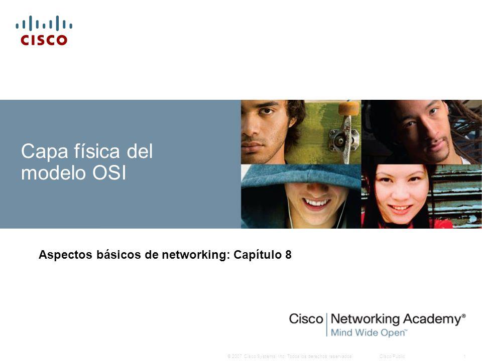 © 2007 Cisco Systems, Inc. Todos los derechos reservados.Cisco Public1 Capa física del modelo OSI Aspectos básicos de networking: Capítulo 8