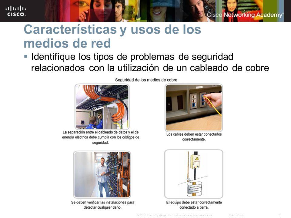 15© 2007 Cisco Systems, Inc. Todos los derechos reservados.Cisco Public Características y usos de los medios de red Identifique los tipos de problemas
