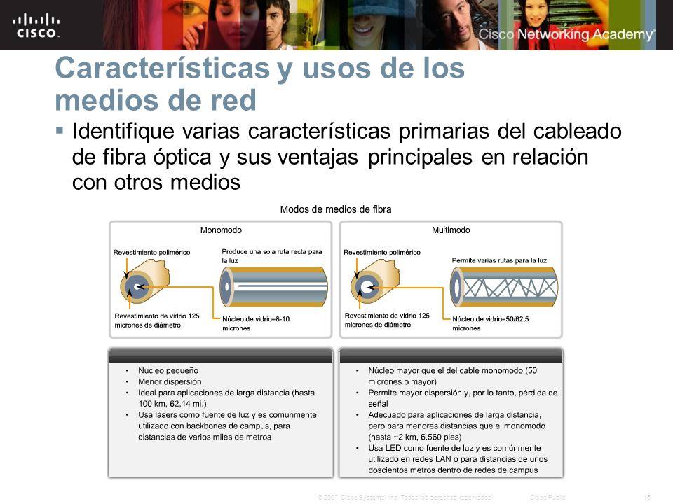16© 2007 Cisco Systems, Inc. Todos los derechos reservados.Cisco Public Características y usos de los medios de red Identifique varias características