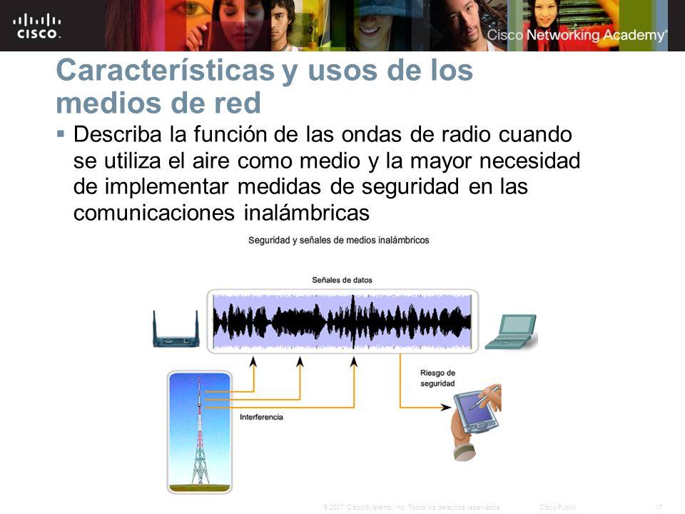 17© 2007 Cisco Systems, Inc. Todos los derechos reservados.Cisco Public Características y usos de los medios de red Describa la función de las ondas d