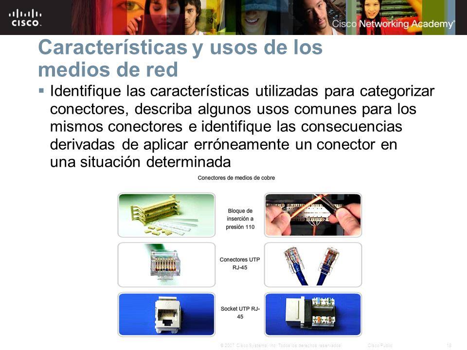 18© 2007 Cisco Systems, Inc. Todos los derechos reservados.Cisco Public Características y usos de los medios de red Identifique las características ut