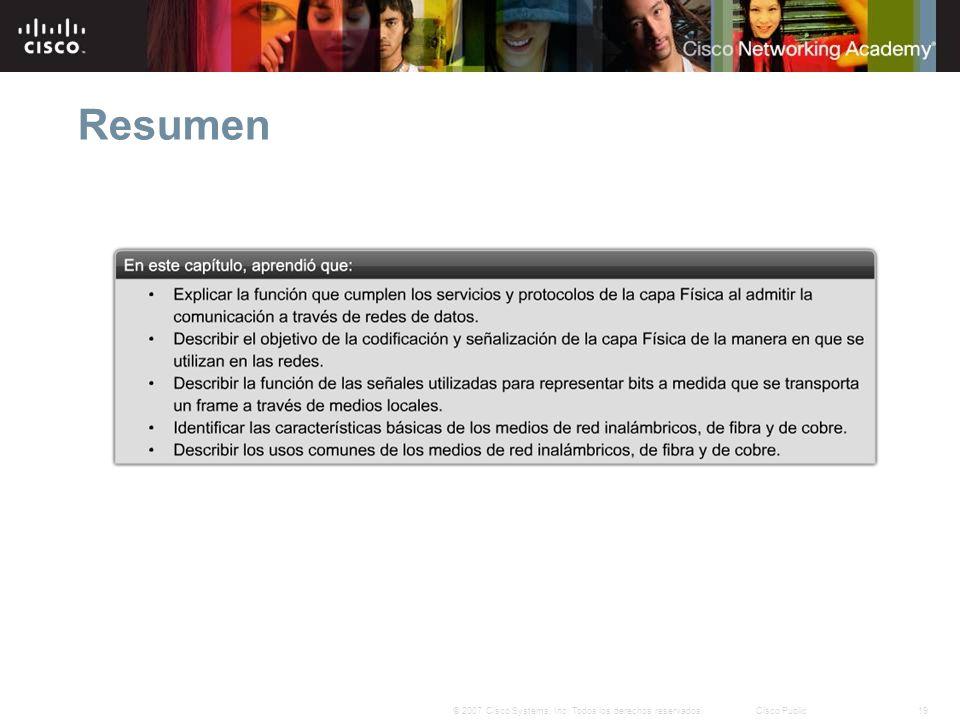 19© 2007 Cisco Systems, Inc. Todos los derechos reservados.Cisco Public Resumen