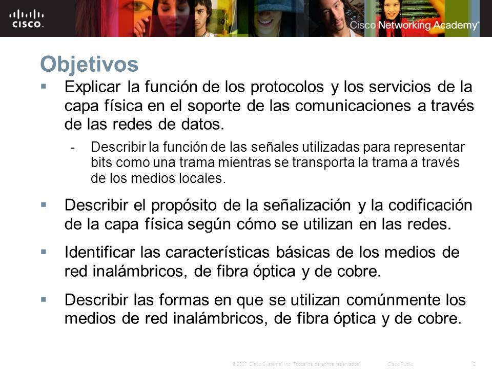 2© 2007 Cisco Systems, Inc. Todos los derechos reservados.Cisco Public Objetivos Explicar la función de los protocolos y los servicios de la capa físi