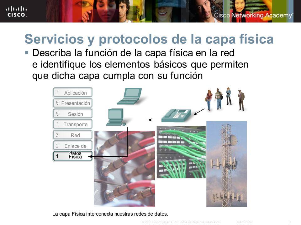 3© 2007 Cisco Systems, Inc. Todos los derechos reservados.Cisco Public Servicios y protocolos de la capa física Describa la función de la capa física