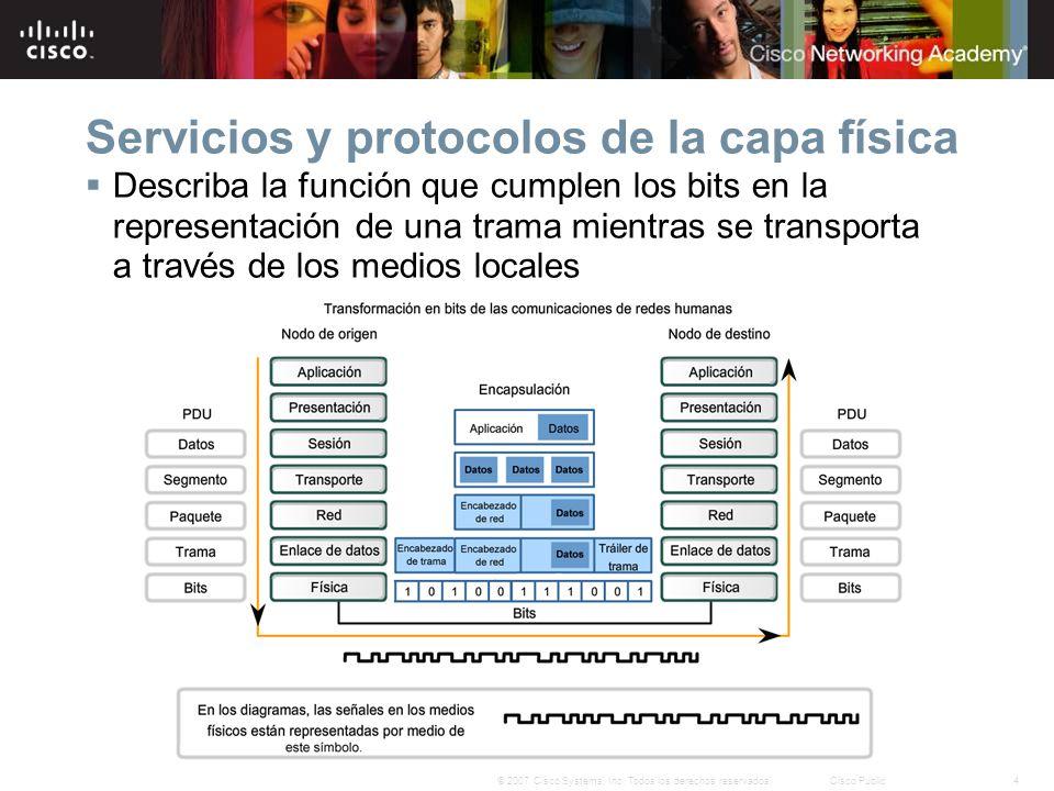 4© 2007 Cisco Systems, Inc. Todos los derechos reservados.Cisco Public Servicios y protocolos de la capa física Describa la función que cumplen los bi