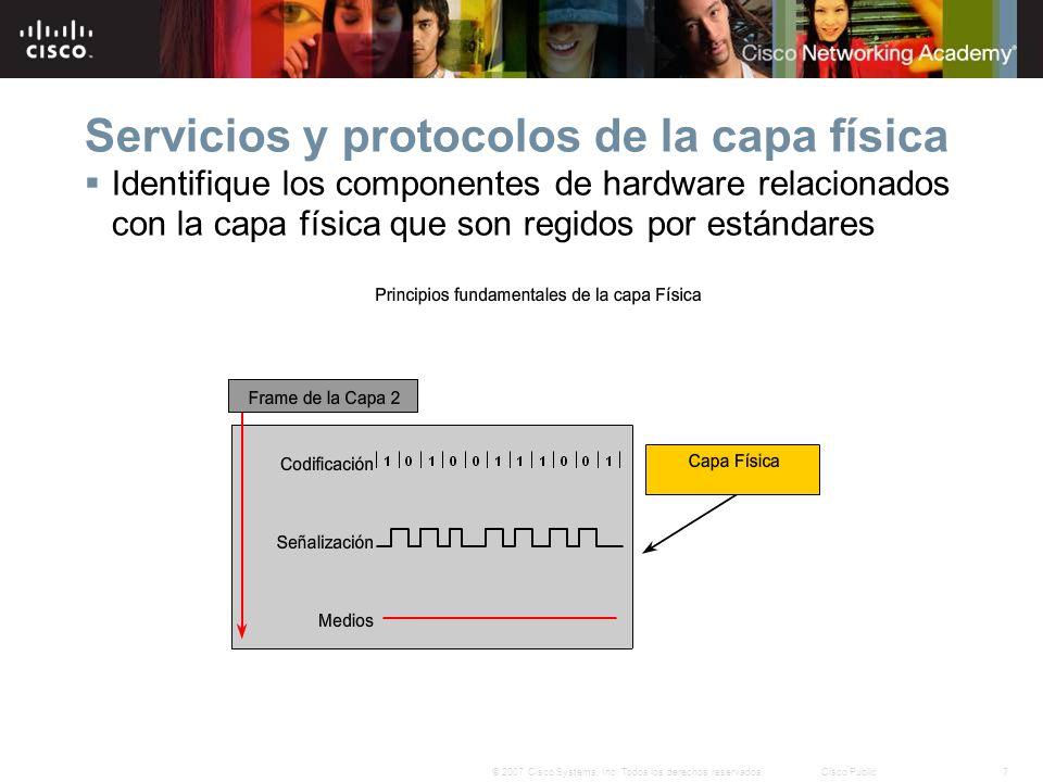 7© 2007 Cisco Systems, Inc. Todos los derechos reservados.Cisco Public Servicios y protocolos de la capa física Identifique los componentes de hardwar