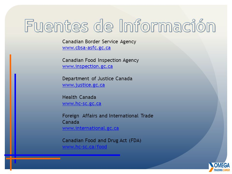 Canadian Border Service Agency www.cbsa-asfc.gc.ca Canadian Food Inspection Agency www.inspection.gc.ca Department of Justice Canada www.justice.gc.ca