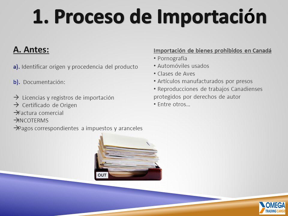 A. Antes: a). Identificar origen y procedencia del producto b). Documentación: Licencias y registros de importación Certificado de Origen Factura come