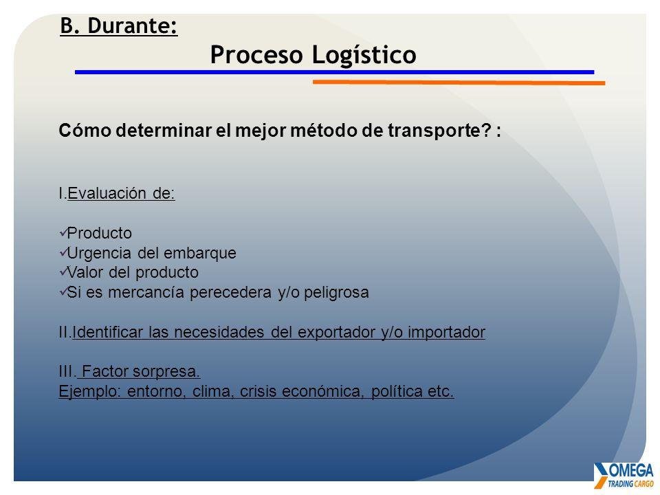 B. Durante: Proceso Logístico Cómo determinar el mejor método de transporte? : I.Evaluación de: Producto Urgencia del embarque Valor del producto Si e
