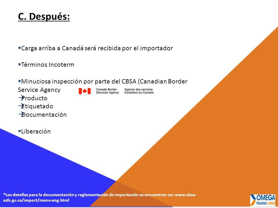 C. Después: Carga arriba a Canadá será recibida por el importador Términos Incoterm Minuciosa inspección por parte del CBSA (Canadian Border Service A