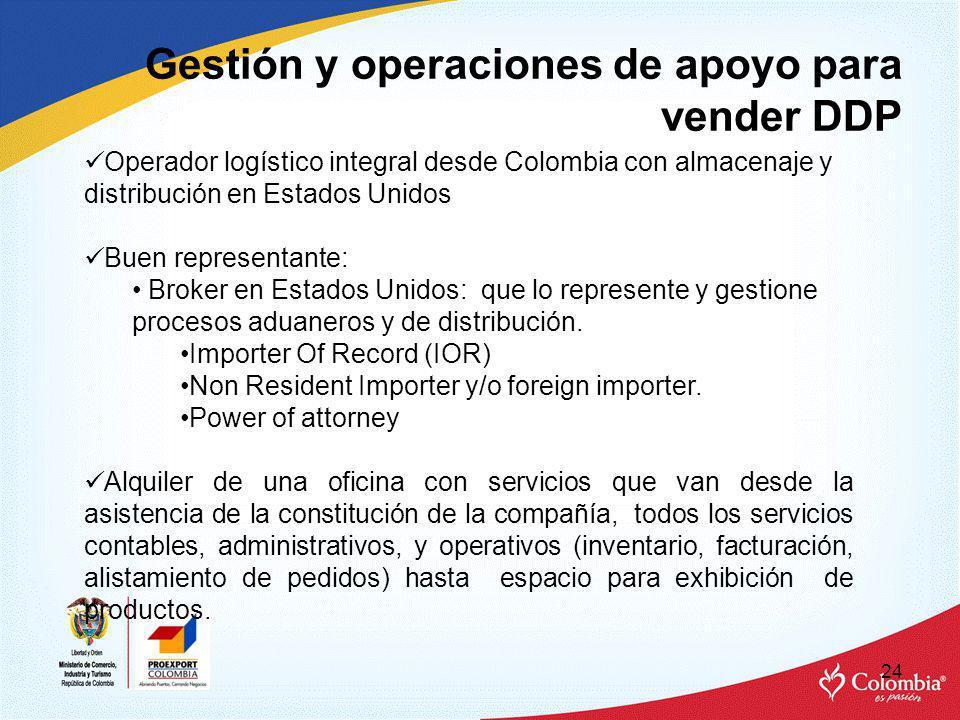 Gestión y operaciones de apoyo para vender DDP 24 Operador logístico integral desde Colombia con almacenaje y distribución en Estados Unidos Buen representante: Broker en Estados Unidos: que lo represente y gestione procesos aduaneros y de distribución.