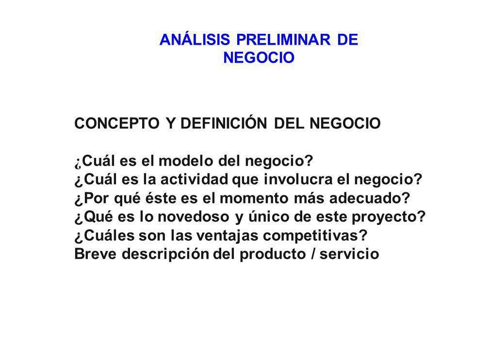 ANÁLISIS PRELIMINAR DE NEGOCIO CONCEPTO Y DEFINICIÓN DEL NEGOCIO ¿ Cuál es el modelo del negocio.