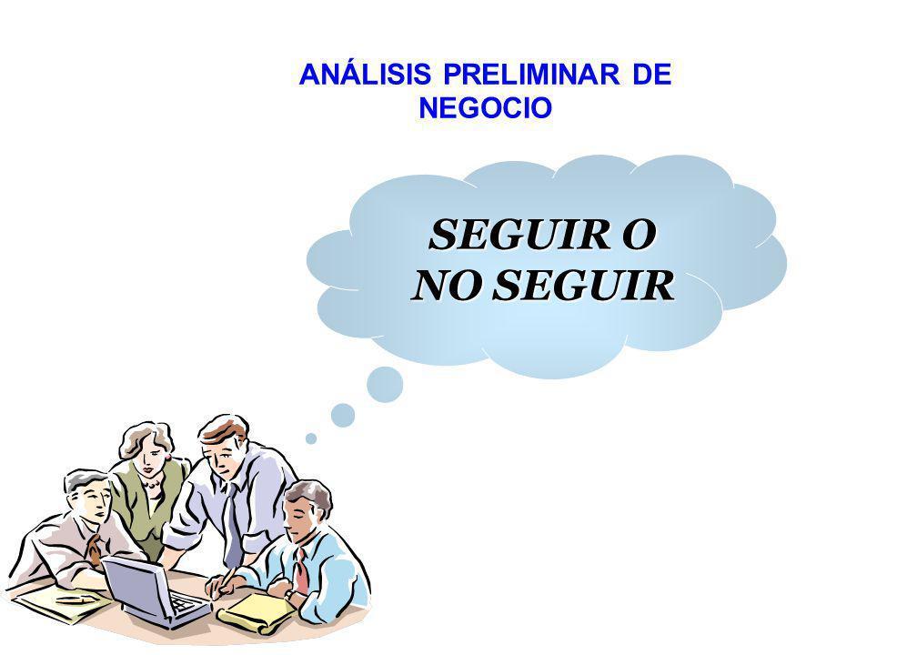 ANÁLISIS PRELIMINAR DE NEGOCIO SEGUIR O NO SEGUIR