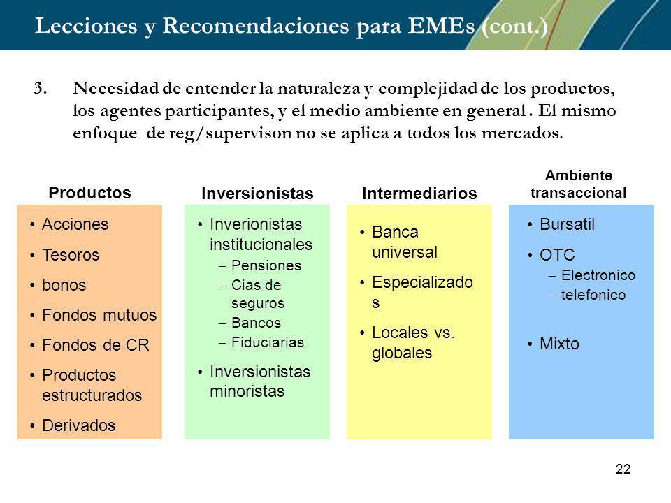 22 Lecciones y Recomendaciones para EMEs (cont.) 3.Necesidad de entender la naturaleza y complejidad de los productos, los agentes participantes, y el medio ambiente en general.