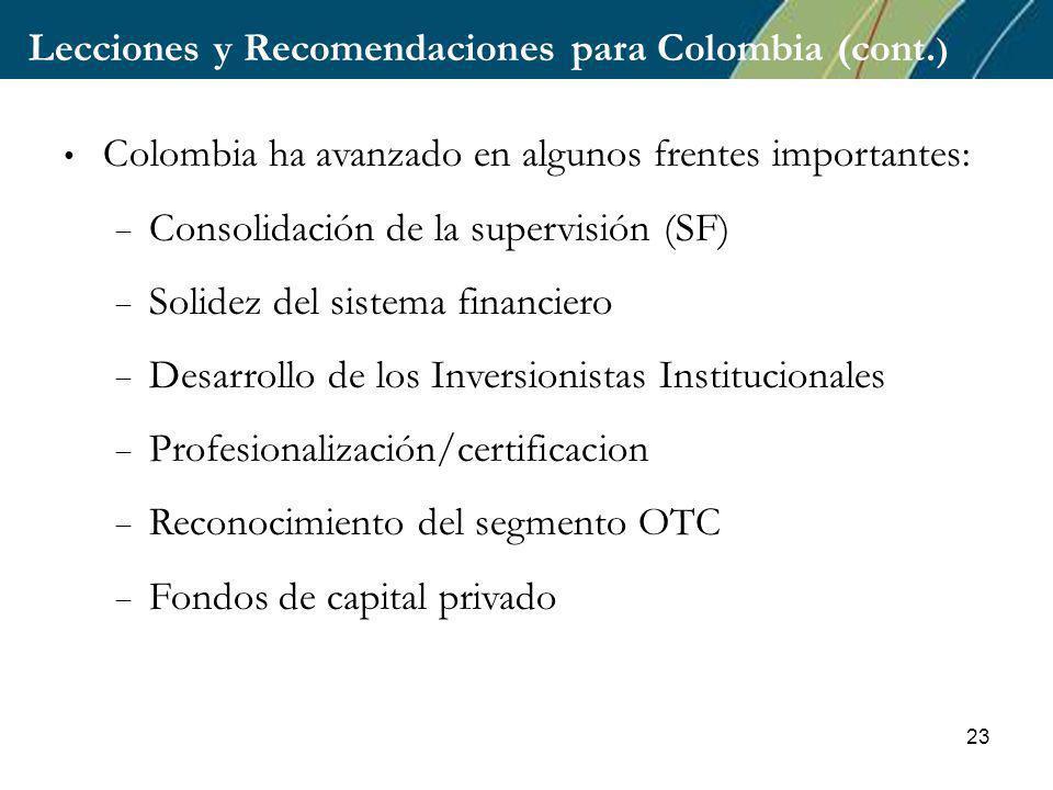 23 Lecciones y Recomendaciones para Colombia (cont.
