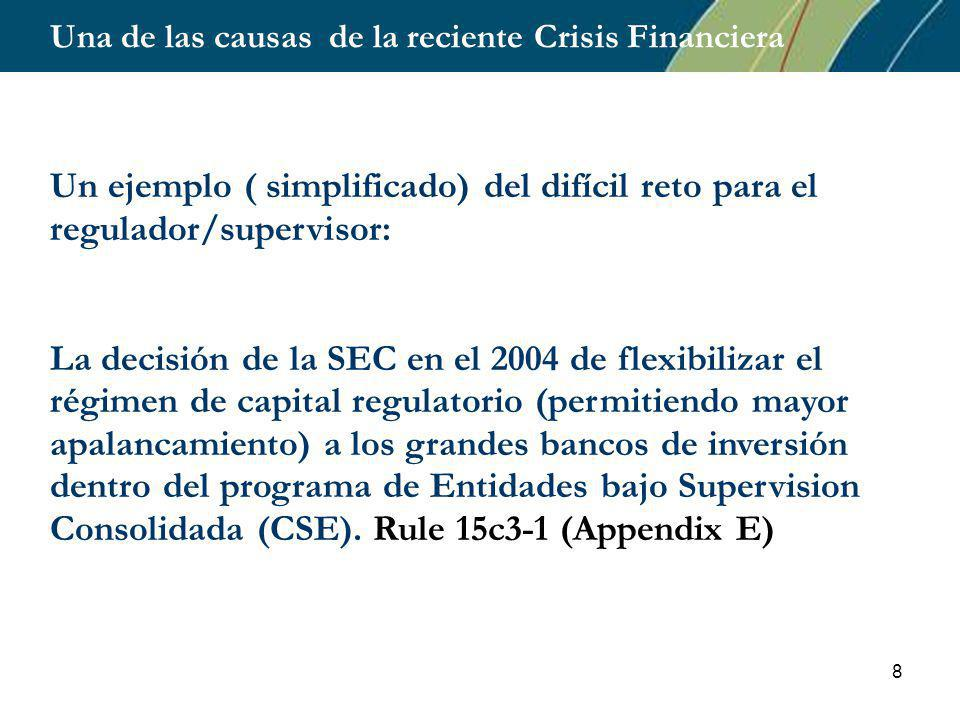 8 Una de las causas de la reciente Crisis Financiera Un ejemplo ( simplificado) del difícil reto para el regulador/supervisor: La decisión de la SEC en el 2004 de flexibilizar el régimen de capital regulatorio (permitiendo mayor apalancamiento) a los grandes bancos de inversión dentro del programa de Entidades bajo Supervision Consolidada (CSE).