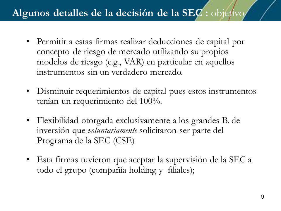 9 Permitir a estas firmas realizar deducciones de capital por concepto de riesgo de mercado utilizando su propios modelos de riesgo (e.g., VAR) en particular en aquellos instrumentos sin un verdadero mercado.