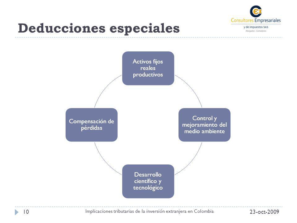 Deducciones especiales 23-oct-200910 Implicaciones tributarias de la inversión extranjera en Colombia Activos fijos reales productivos Control y mejor