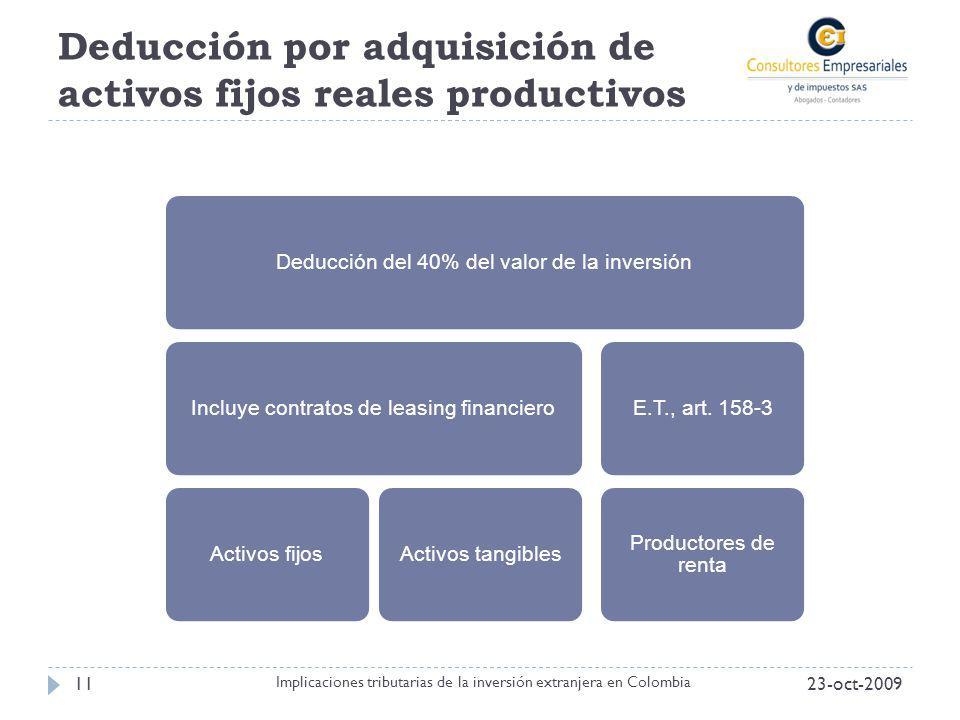 Deducción por adquisición de activos fijos reales productivos 23-oct-200911 Implicaciones tributarias de la inversión extranjera en Colombia Deducción