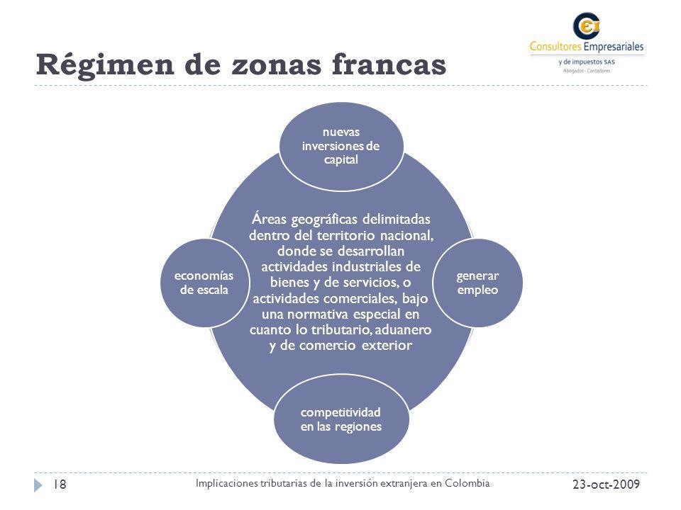 Régimen de zonas francas 23-oct-200918 Implicaciones tributarias de la inversión extranjera en Colombia Áreas geográficas delimitadas dentro del terri