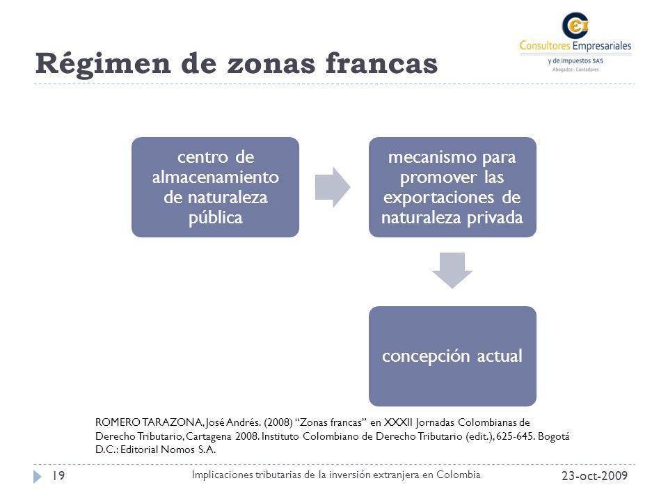 Régimen de zonas francas 23-oct-200919 Implicaciones tributarias de la inversión extranjera en Colombia centro de almacenamiento de naturaleza pública