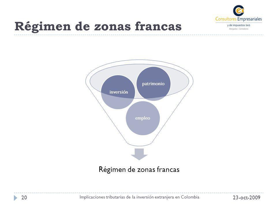 Régimen de zonas francas 23-oct-200920 Implicaciones tributarias de la inversión extranjera en Colombia Régimen de zonas francas empleo inversiónpatri