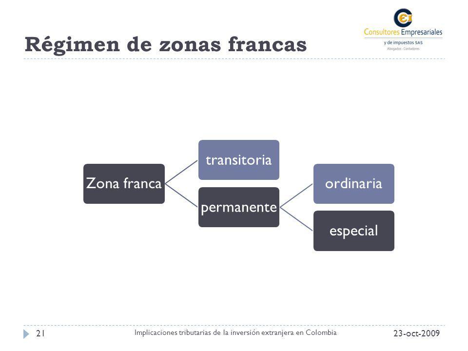 Régimen de zonas francas 23-oct-200921 Implicaciones tributarias de la inversión extranjera en Colombia Zona francatransitoriapermanenteordinariaespec
