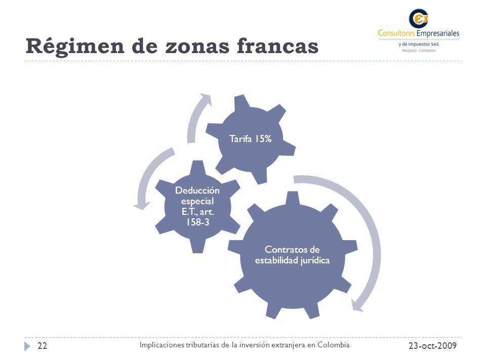 Régimen de zonas francas 23-oct-200922 Implicaciones tributarias de la inversión extranjera en Colombia Contratos de estabilidad jurídica Deducción es