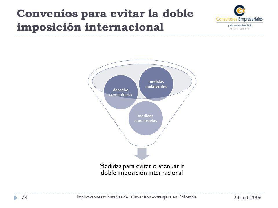 Convenios para evitar la doble imposición internacional Medidas para evitar o atenuar la doble imposición internacional medidas concertadas derecho co